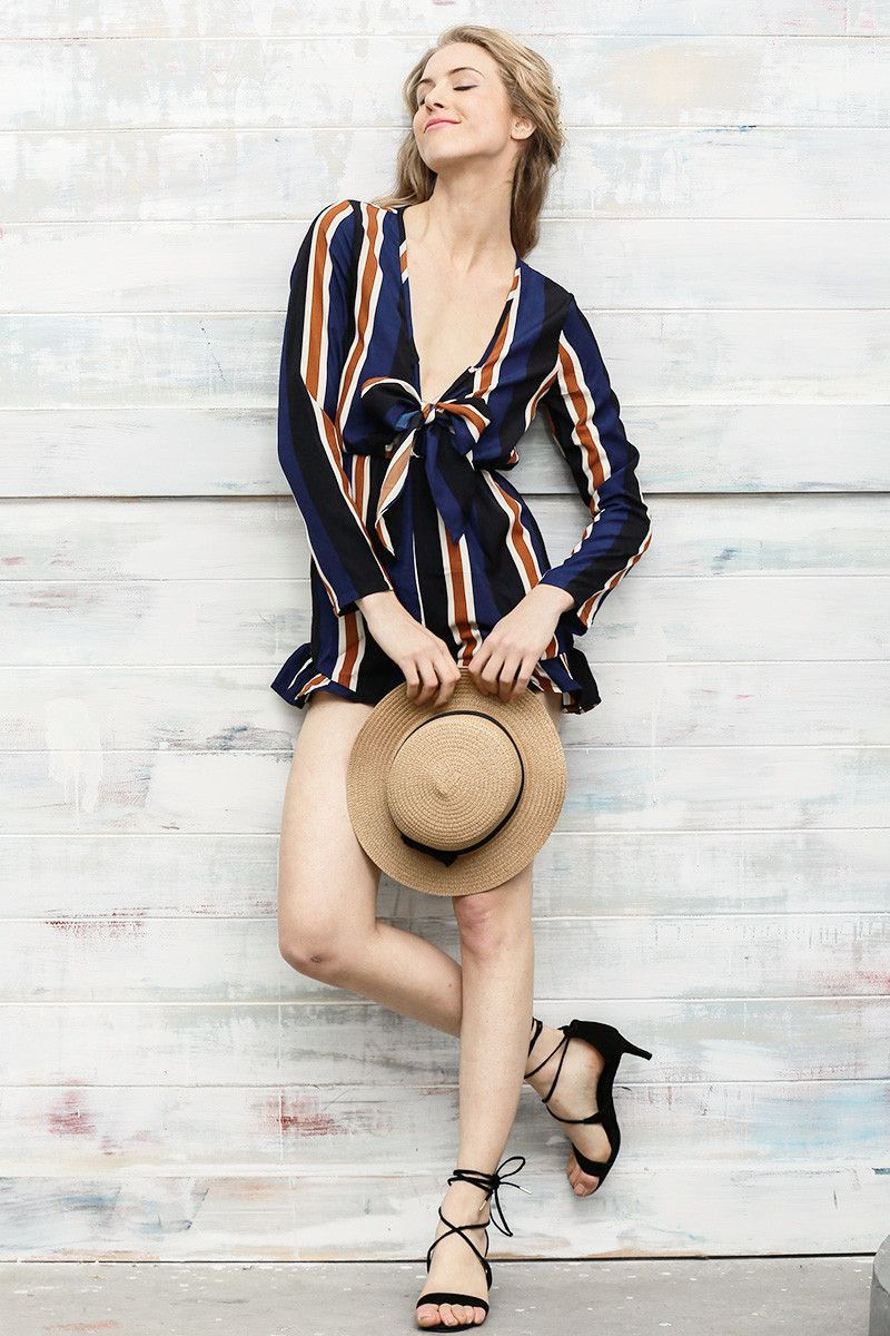 Navy Blue Bow Striped Romper