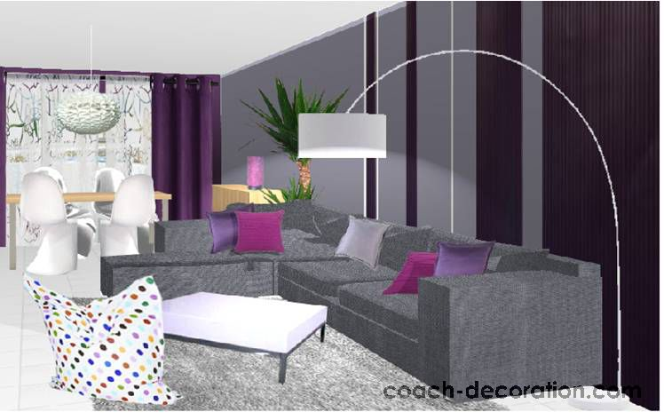 Quelle d co salon prune d co coussins salon pinterest for Quelle couleur de rideaux avec mur blanc