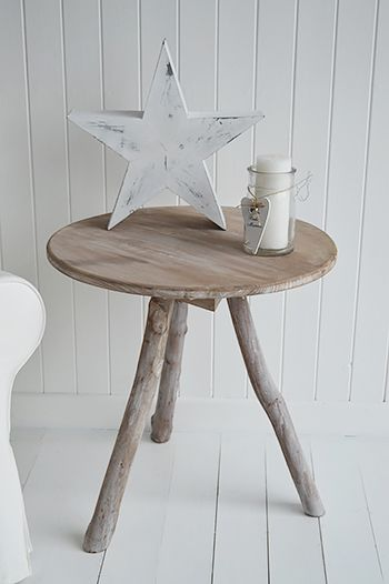 Driftwood Side or Lamp Table Coastal style bedroom furniture New