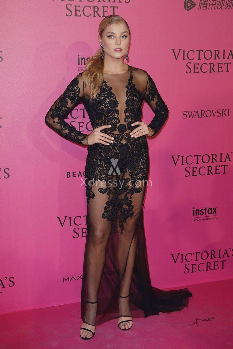 Rachel Hilbert Sheer Floral Black Lace Long Sleeve Prom Dress ...