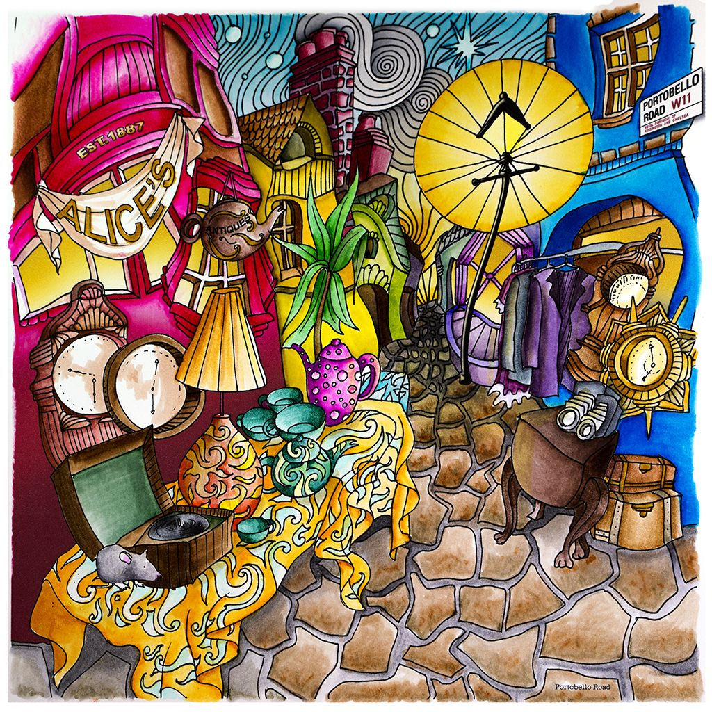 Portobello Rd From Lizzie Mary Cullens Book Magical City Colored By Me Magic CityPortobelloAdult ColoringColoring