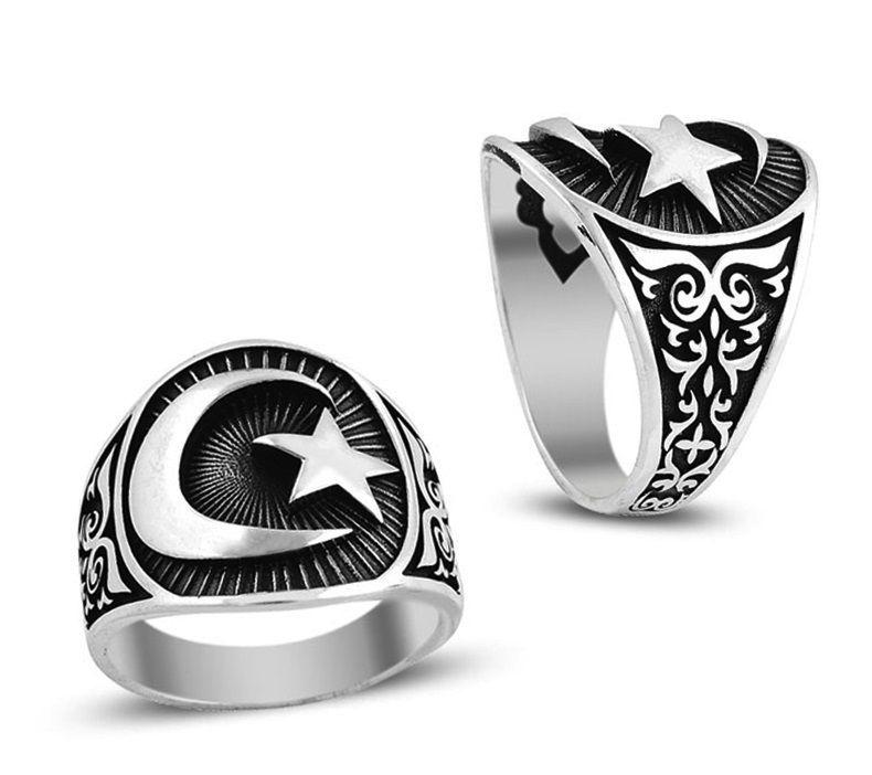 Men Ring Mens Handmade Ring moon-star ring Mens Gift Turkish Handmade Silver Men Ring gift Men/'s ring 925K Sterling Silver