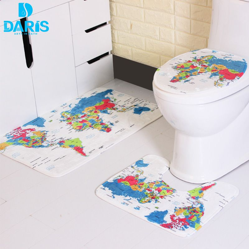 DARIS 3 Pieces / Sets Of Bathroom Mats Set The World Map Printing ...