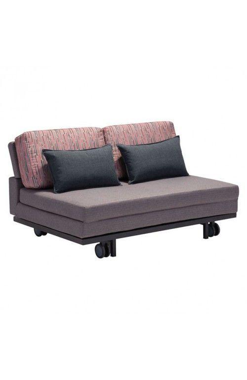 Zuo Modern Felicity Sleeper Sofa Gray with Red Gray Print