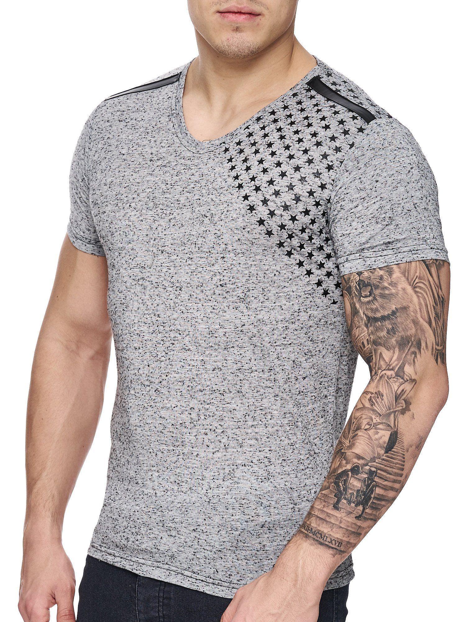 Kd men corner stars faux leather band vneck tshirt
