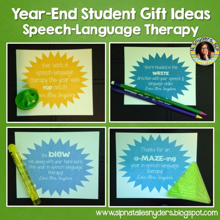 End Of The Year Student Gifts For Speech Language Therapy