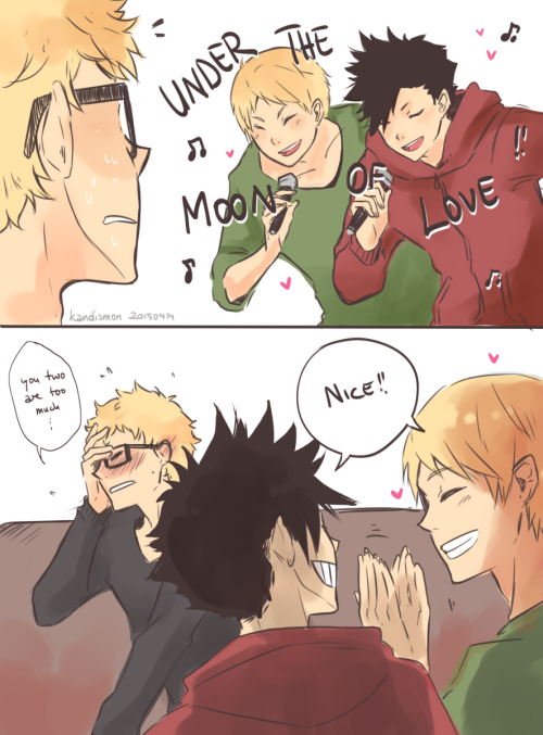 """53edc10bc8d3 """"karaoke"""" for the hq 69min on twitter!i want nothing more than kuroo and  akiteru to meet and bond over their love for kei and become very close  friends (rip ..."""