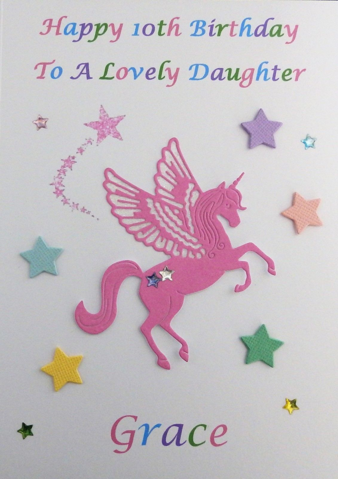 Personalised Unicorn Birthday Card Any Name//Age Female Girl Daughter Cards