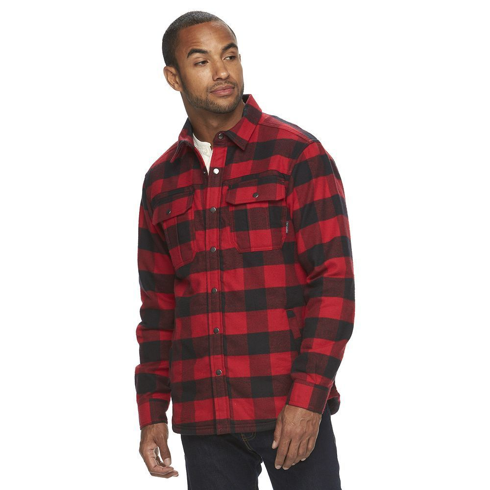 Red plaid flannel jacket  Menus Columbia Fireside Flame ClassicFit Plaid Shirt Jacket Size