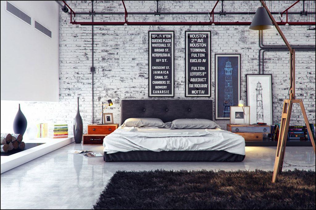 Interior:Industrial Interior Design Mix To Modern Dazzling Industrial Bedroom Interior Design With White Brick Wall And Dark Brown Fur Rug Ideas & Industrial bedroom. I want my room to be like this | Home Concept ...