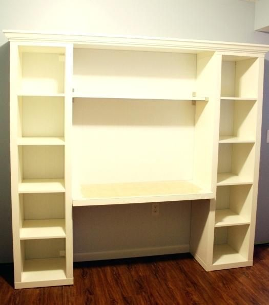 Bookcase Wall Mounted Ikea How To Build Your Own Built In Desk From Billy Bookcases Box Shelves Kitchen