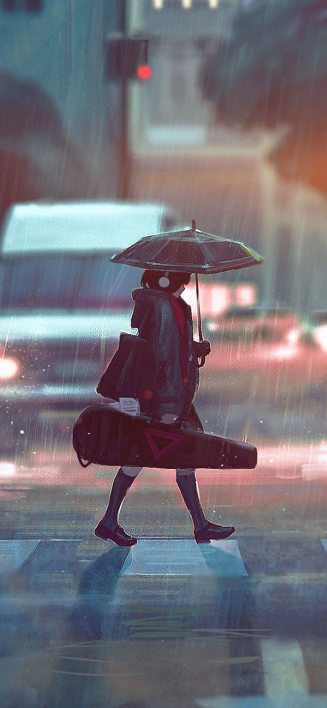 Iphonex Wallpaper Bc90 Rainy Day Anime Paint Girl Art