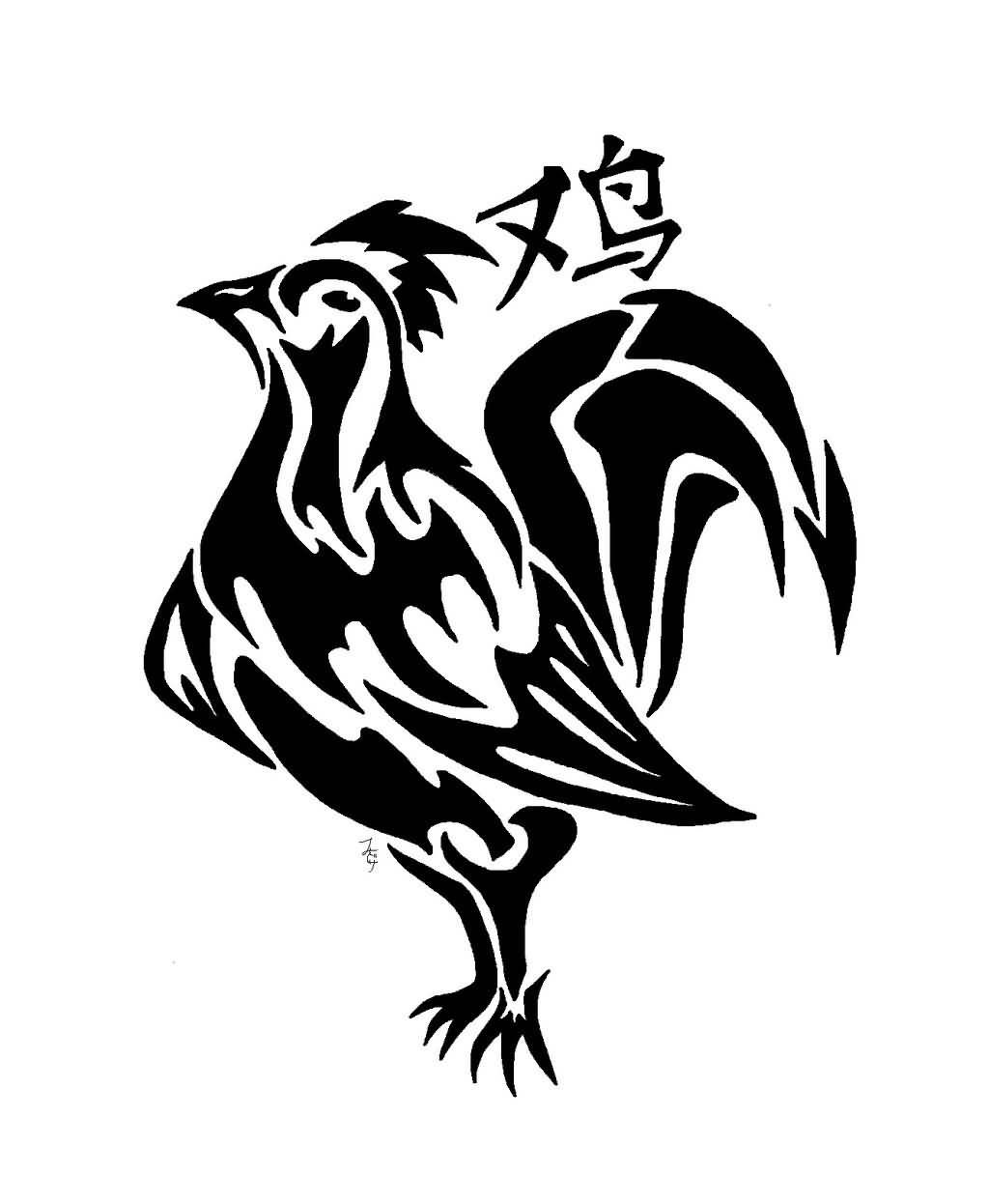 34035078d3470 Black Tribal Rooster Tattoo Design | print outs | Rooster tattoo ...