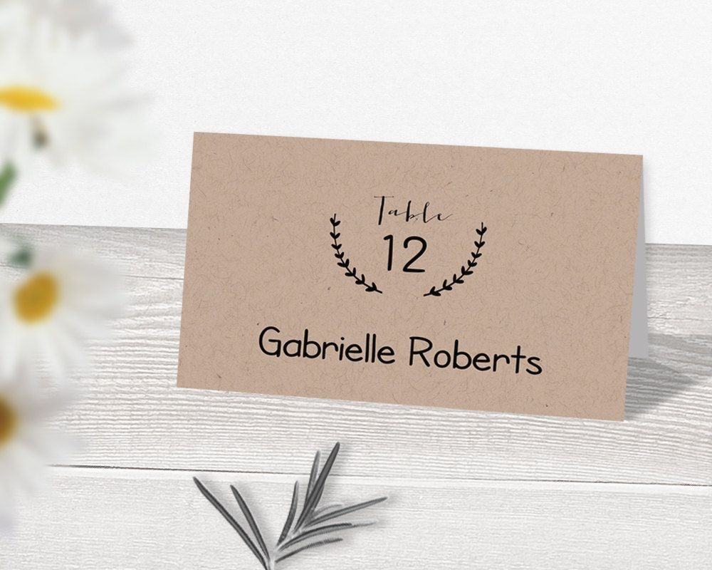 free printable wedding thank you cards with photo%0A Wedding Place Card Template  Printable Place Cards  Rustic Place Cards   Kraft Place Cards DIY  Wedding Escort Cards  Name Cards  Table Tents