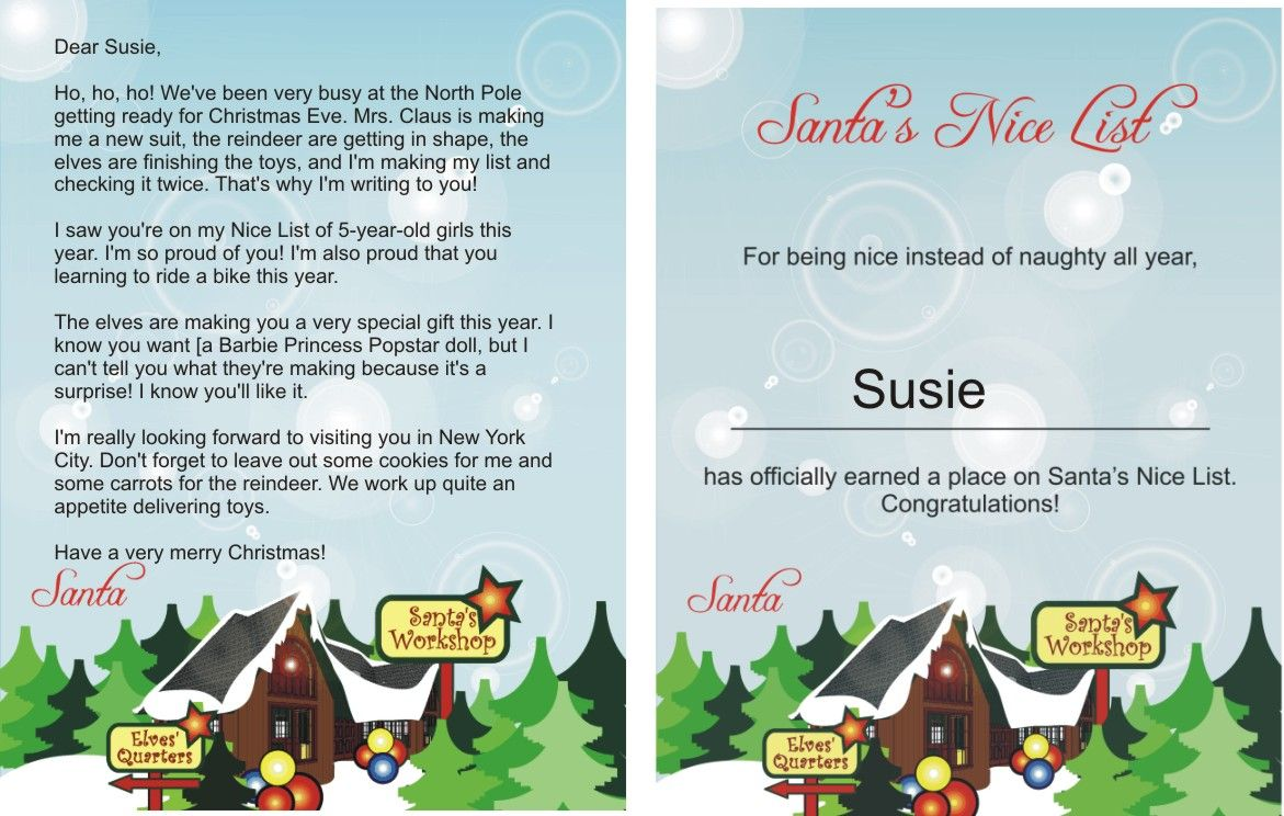 Printable Santa Letters With Matching Nice List Certificates Http