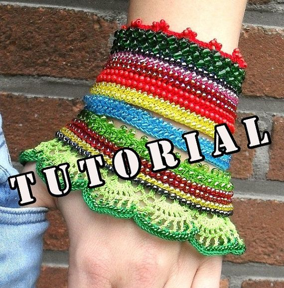 Pattern, tutorial, Circaea Lutetia, crochet beaded cuff bracelet ...