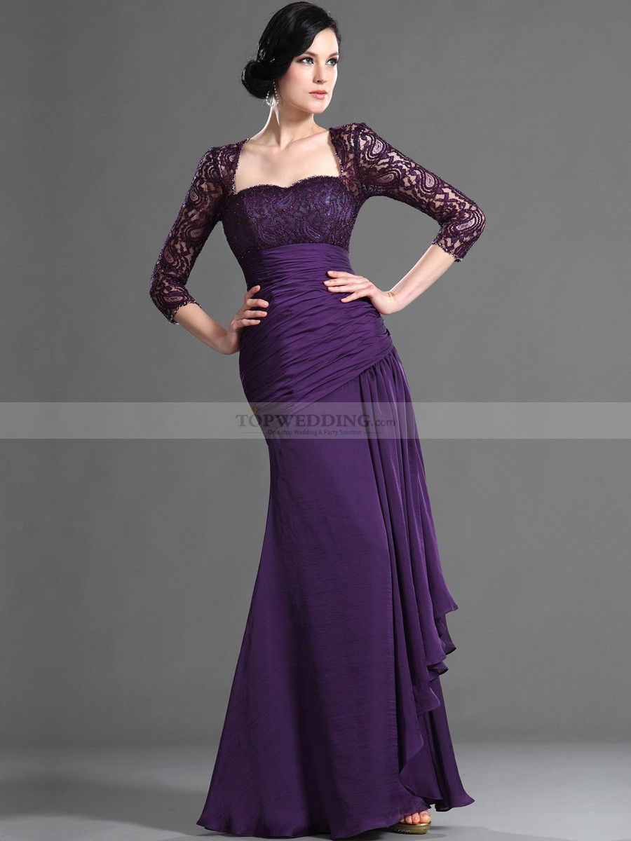 Fit and Flare Mother of the Bride Dress with Three Quarter Sleeve ...