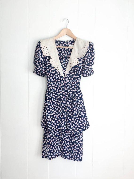 1a3e1ba854e8 Vintage Dress - 80s Dress - 80s Party - Boho Dress - 1980s Clothing -  Shoulder