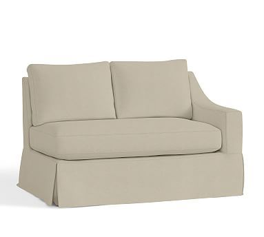 York Slope Arm Right arm Loveseat Slipcover, Textured Twill Oatmeal