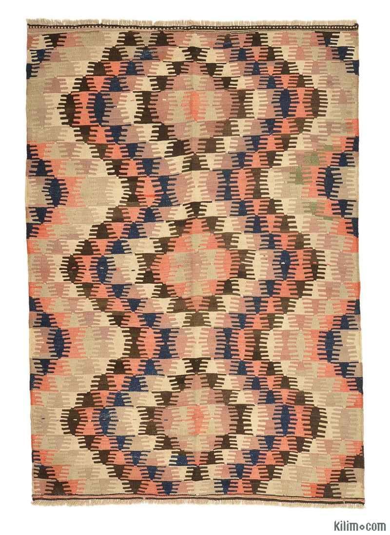K0005660 Vintage Afyon Kilim Rug | Kilim Rugs, Overdyed Vintage Rugs, Hand-made Turkish Rugs, Patchwork Carpets by Kilim.com