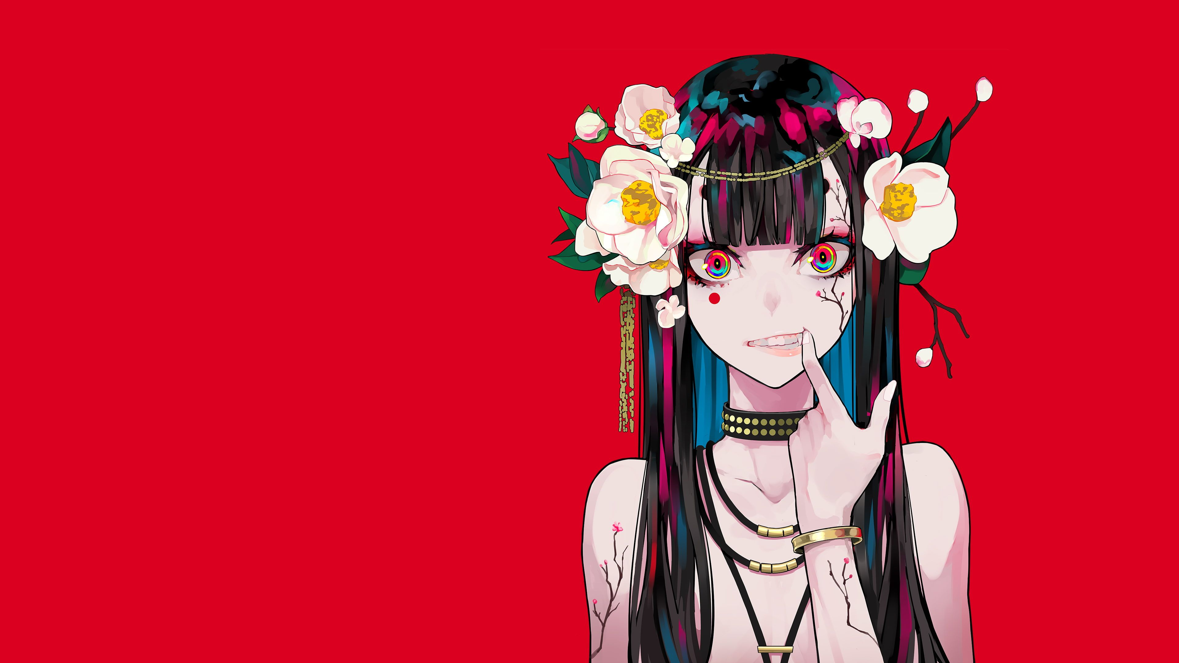 Artwork Minimalism Anime Girls Anime Flower In Hair Red Background Simple Background Colorful 4k Wallpaper In 2020 Anime Wallpaper Anime Android Wallpaper Anime