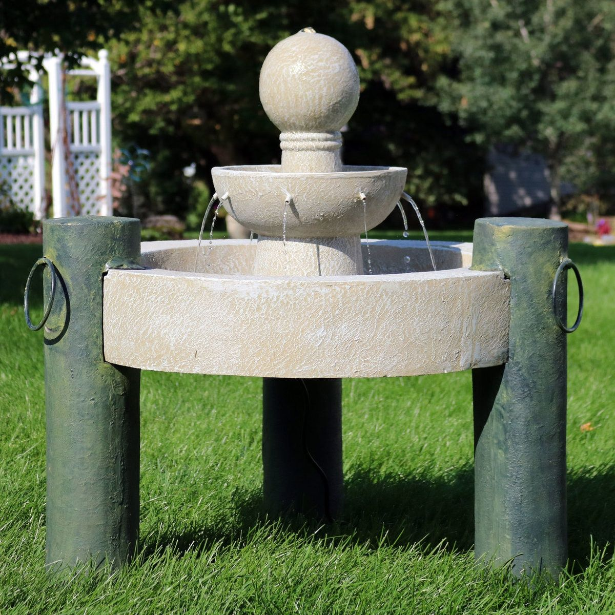Sunnydaze 2 Tier Raised Cathedral Basin Outdoor Water Fountain 37 Inch Tall Fountains Outdoor Water Fountains Outdoor Large Outdoor Fountains