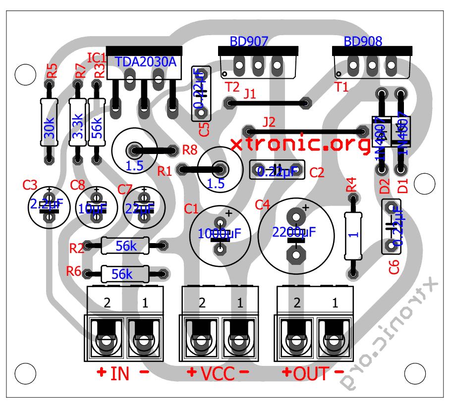 Audio Amplifier Circuit Diagram With Layout 1962 Chevy Truck Wiring 40 Watt Transistor Tip142 700x632 Tda2030 Transistors Bd908 Bd907 18w Hi Fi Tda Power