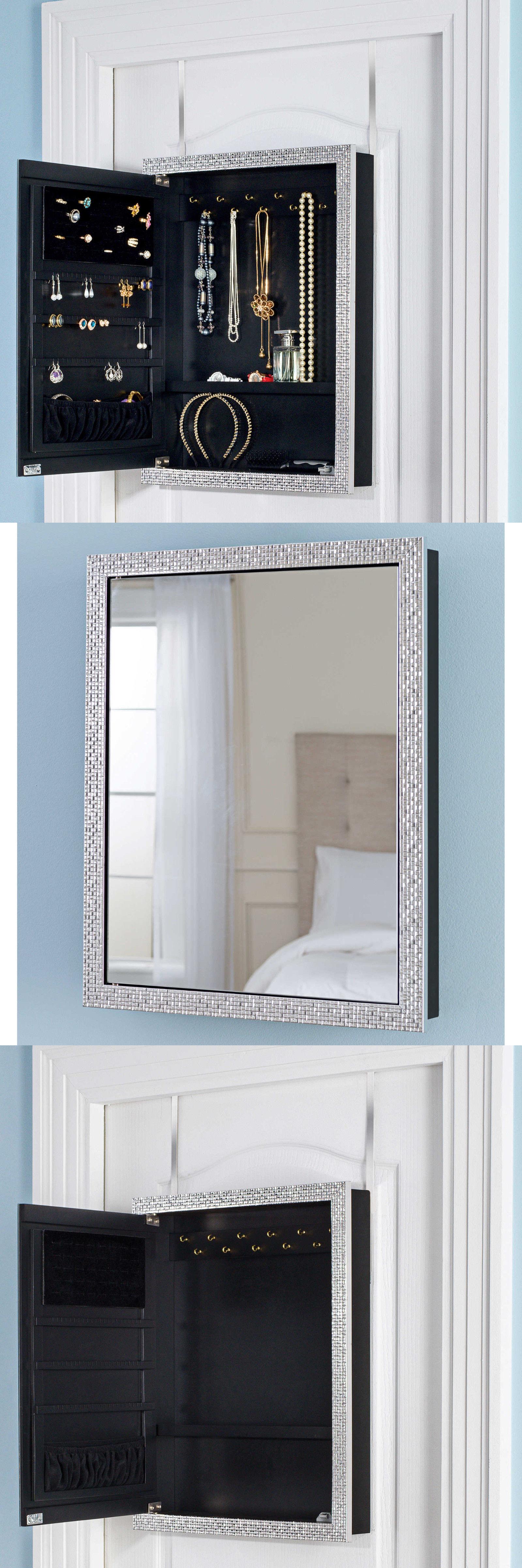 MultiPurpose 168165 Over The Door Mirror Jewelry Organizer Holder