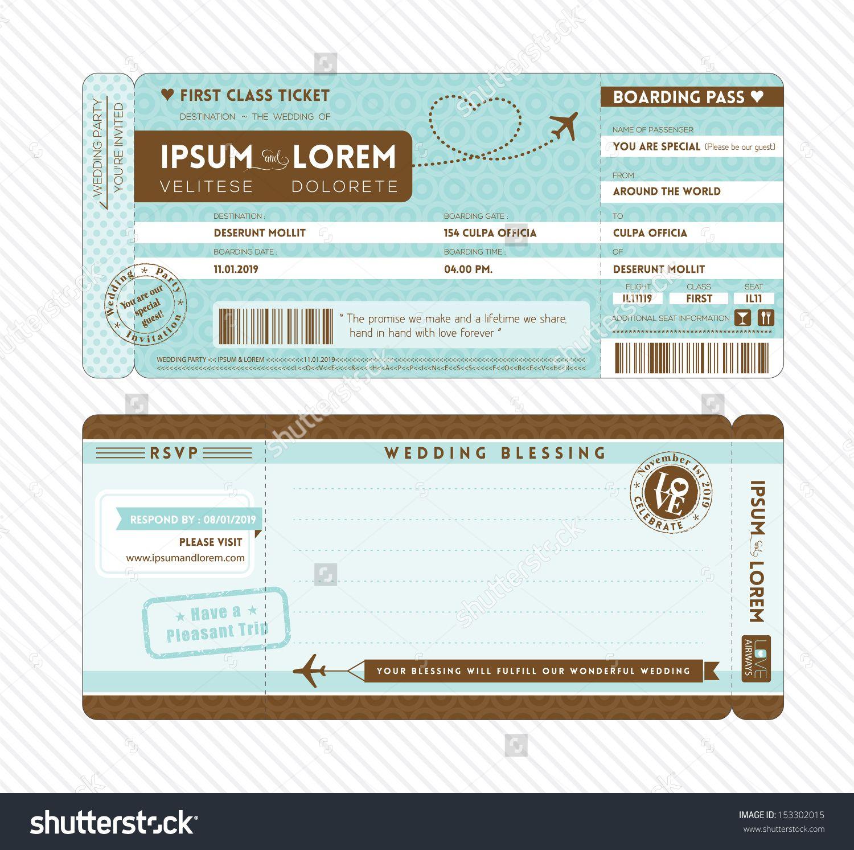 Bordkarte Ticket Hochzeits-Einladung Vorlage Stock-Vektorgrafik ...