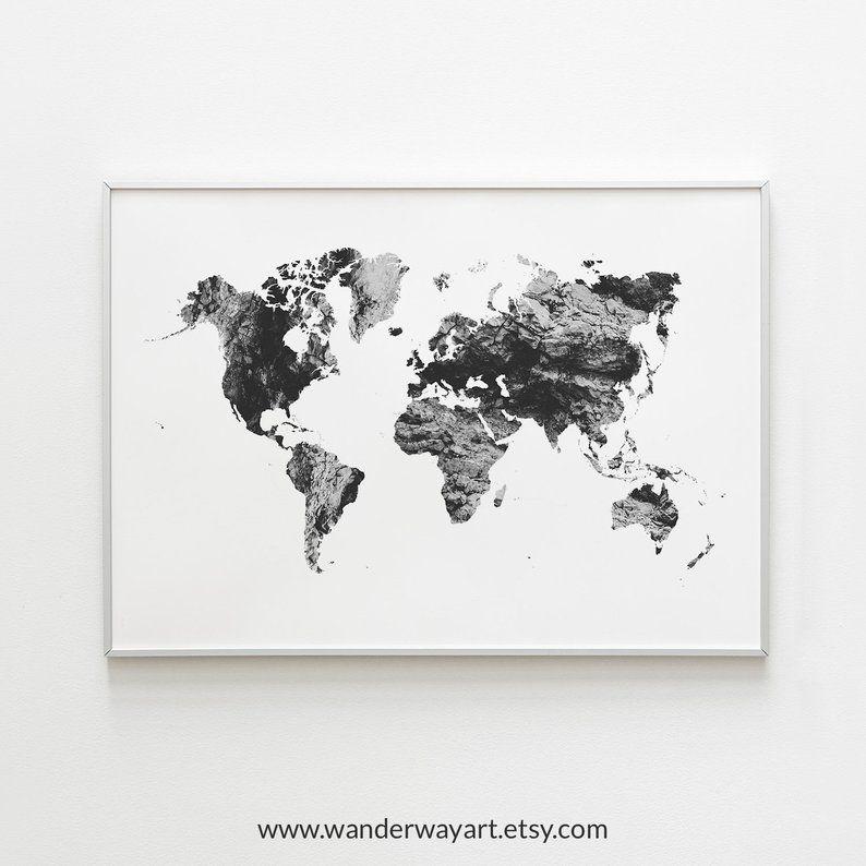 World Map Wall Art Travel Map Gray World Map Poster World Etsy Map Wall Art World Map Wall Art World Map Wall