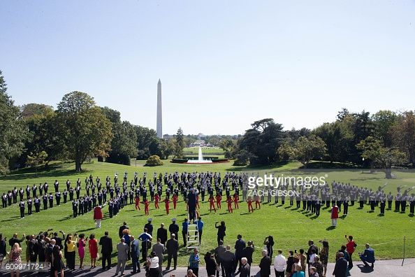 The Tennessee State University marching band performs on the South Lawn before a reception honoring the opening of the Smithsonian's National Museum...