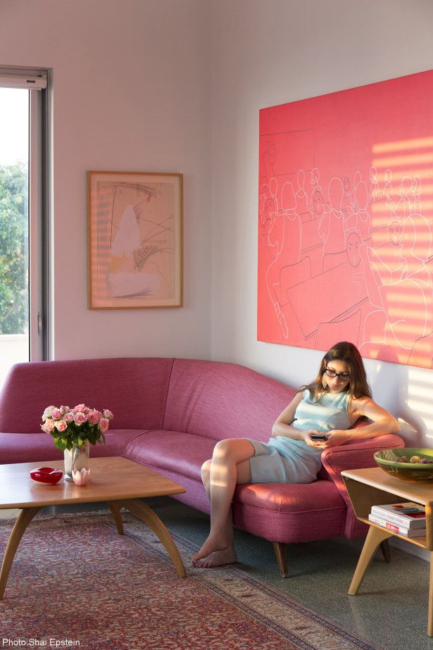 An amazing pink sofa - 120sqm Apartment in Jaffa designed by Tema ...