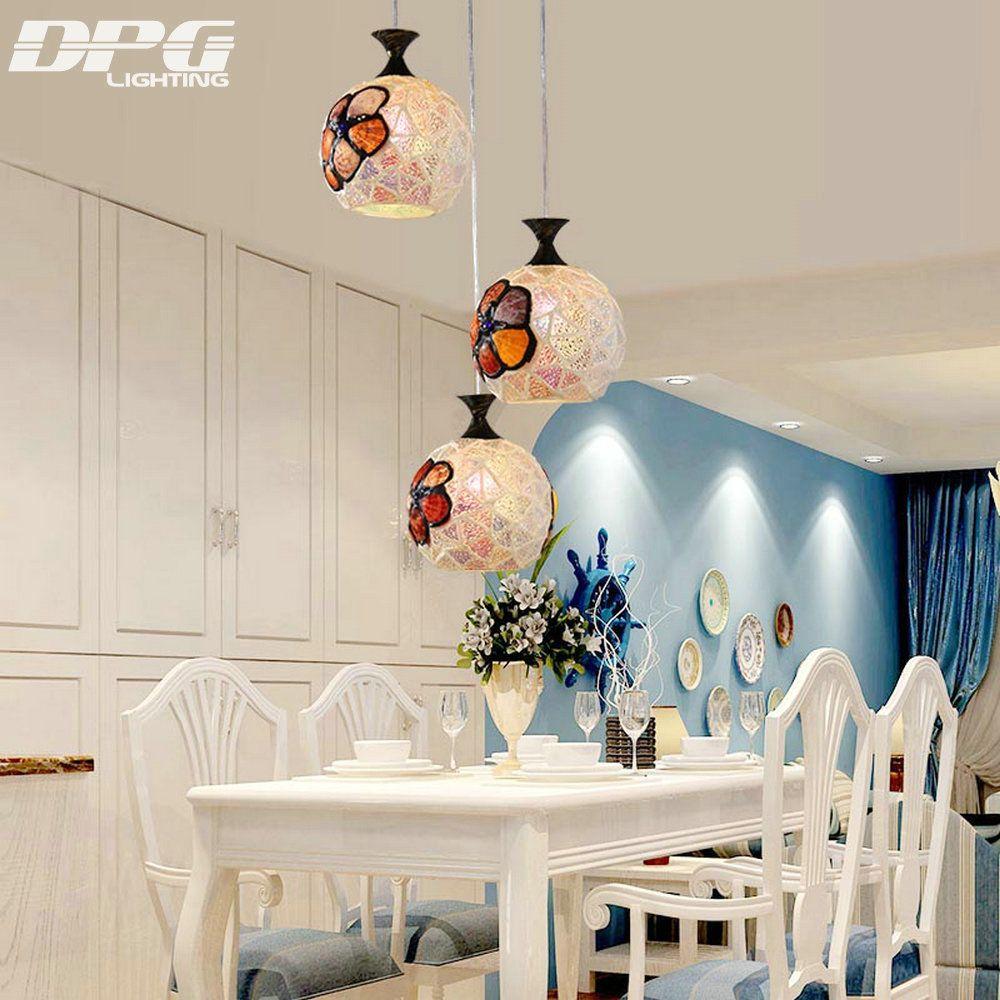 Modern tiffany glass led pendant lights lamp fixtures e v for