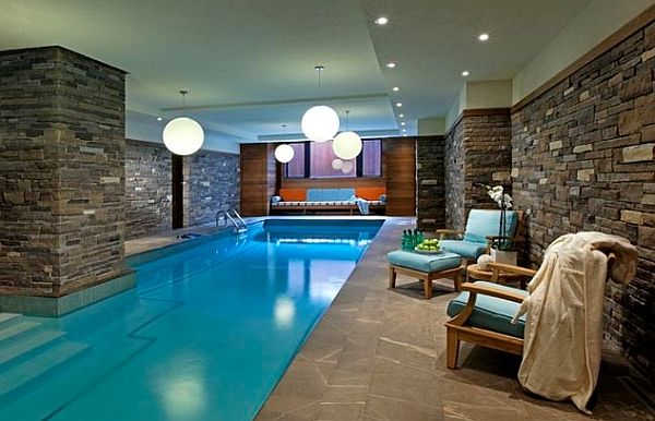 Indoor Pool Designs 32 indoor swimming pool design ideas 32 stunning pictures Brilliant Pendant Lights Illuminate The Indoor Pool