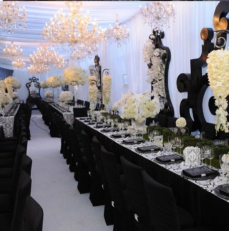 Black Wedding Decorations Black Wedding Decorations Images Wedding Decoration Ideas In 2020 Black Wedding Decorations White Wedding Theme White Silver Wedding