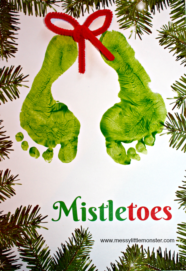 Mistletoes Footprint Keepsake Printable #mistletoesfootprintcraft