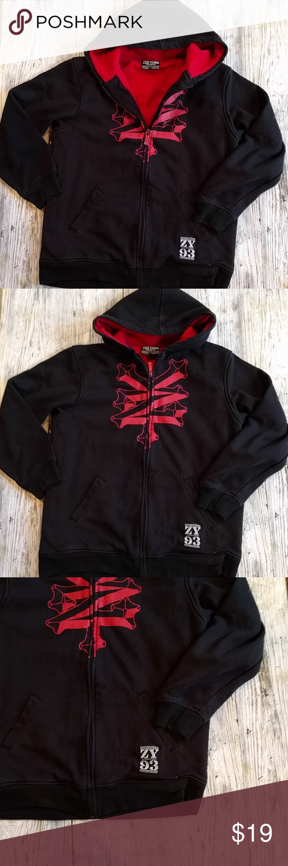 Zoo York fleece lined zip front hoodie Zoo York  boys  size 20 XL Black with red graphic print  red fleece lined interior Good used condition Zoo York Shirts & Tops Sweatshirts & Hoodies