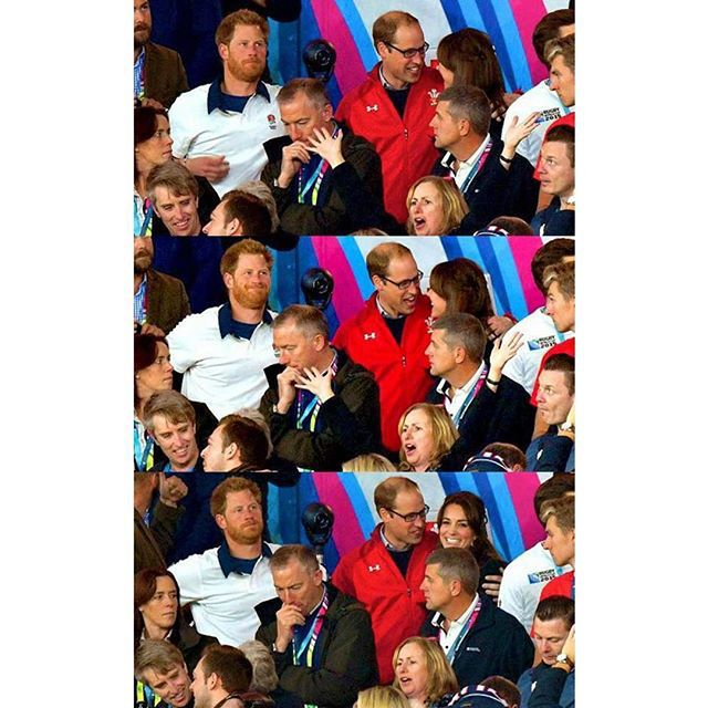 Prince Harry, Prince William, Duke of Cambridge and Catherine; Duchess of Cambridge attend the England v Wales match during the Rugby World Cup 2015 on September 26, 2015. .