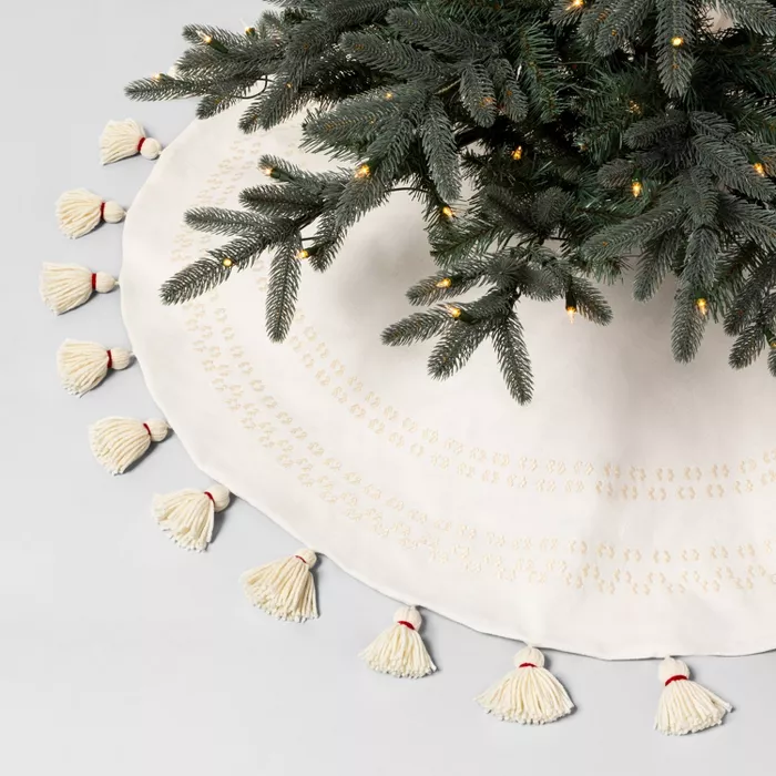 Round Tree Skirt Sour Cream Embroidered With Tassels Hearth Hand With Magnolia Target Farmhouse Christmas Ornaments Tree Skirts Christmas Ornament Sets