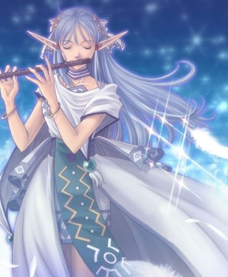A Blue Haired Elf Playing The Flute Anime Elf Steampunk Elf