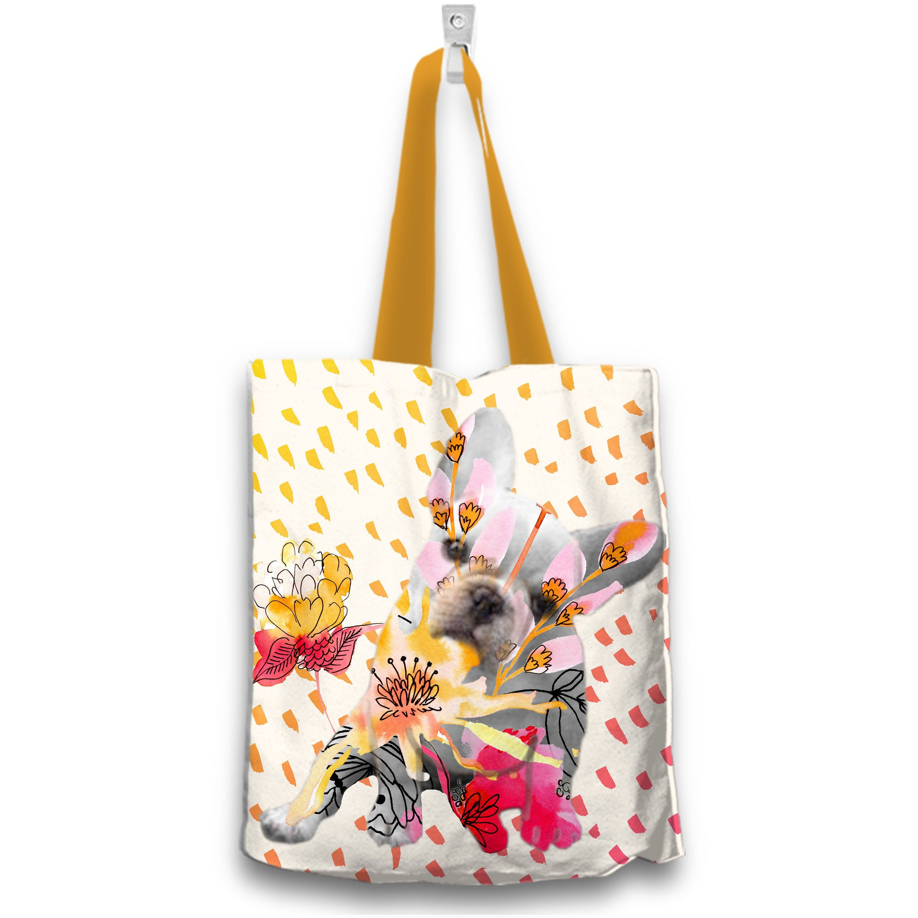French Bulldog Gift Frenchie Tote Bag Floral French