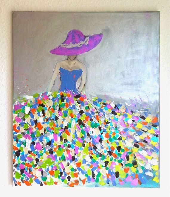 Tableau femme tableau moderne femme robe coloree tableau femme moderne l rred pinterest - Peinture qui cache les defauts ...