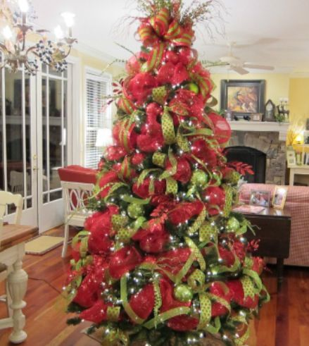 Pin By Tina East On Christmas Pinterest Christmas Tree  - Pictures Of Christmas Trees Decorated With Ribbon