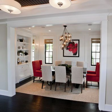 Traditional Dining Room Grey Red Black Dining Room Design