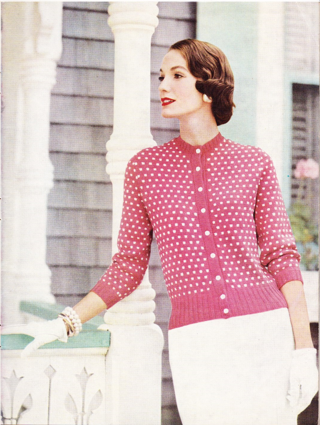 Vogue Knitting 1950\'s - vilken härlig rosa färg. Underbar bild ...