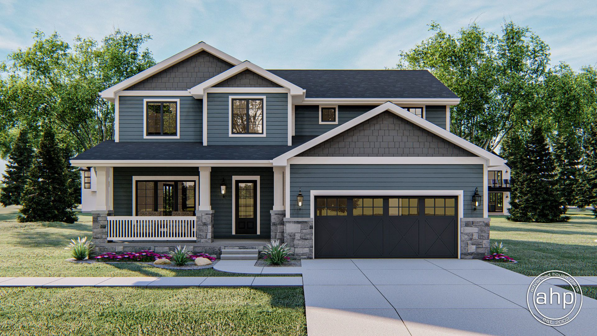 2 Story Craftsman Style House Plan Heritage Heights In 2020 Gray House Exterior House Exterior Blue Craftsman House Plan