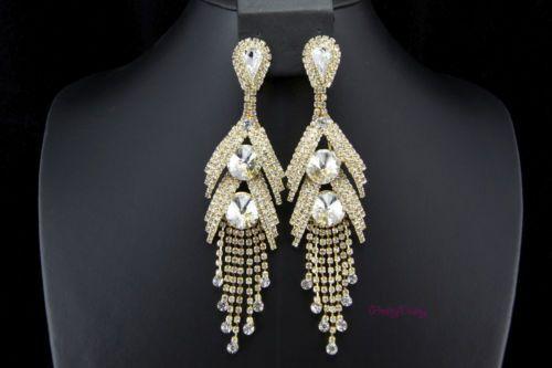 Wedding bridal clip on earrings crystal rhinestone 5 long wedding bridal clip on earrings crystal rhinestone 5 long chandelier prom party aloadofball Gallery