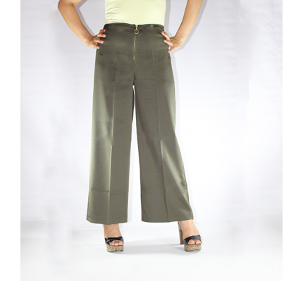 Halka Fermuarli Genis Paca Pantolon 0101 Haki Pants Fashion Culottes