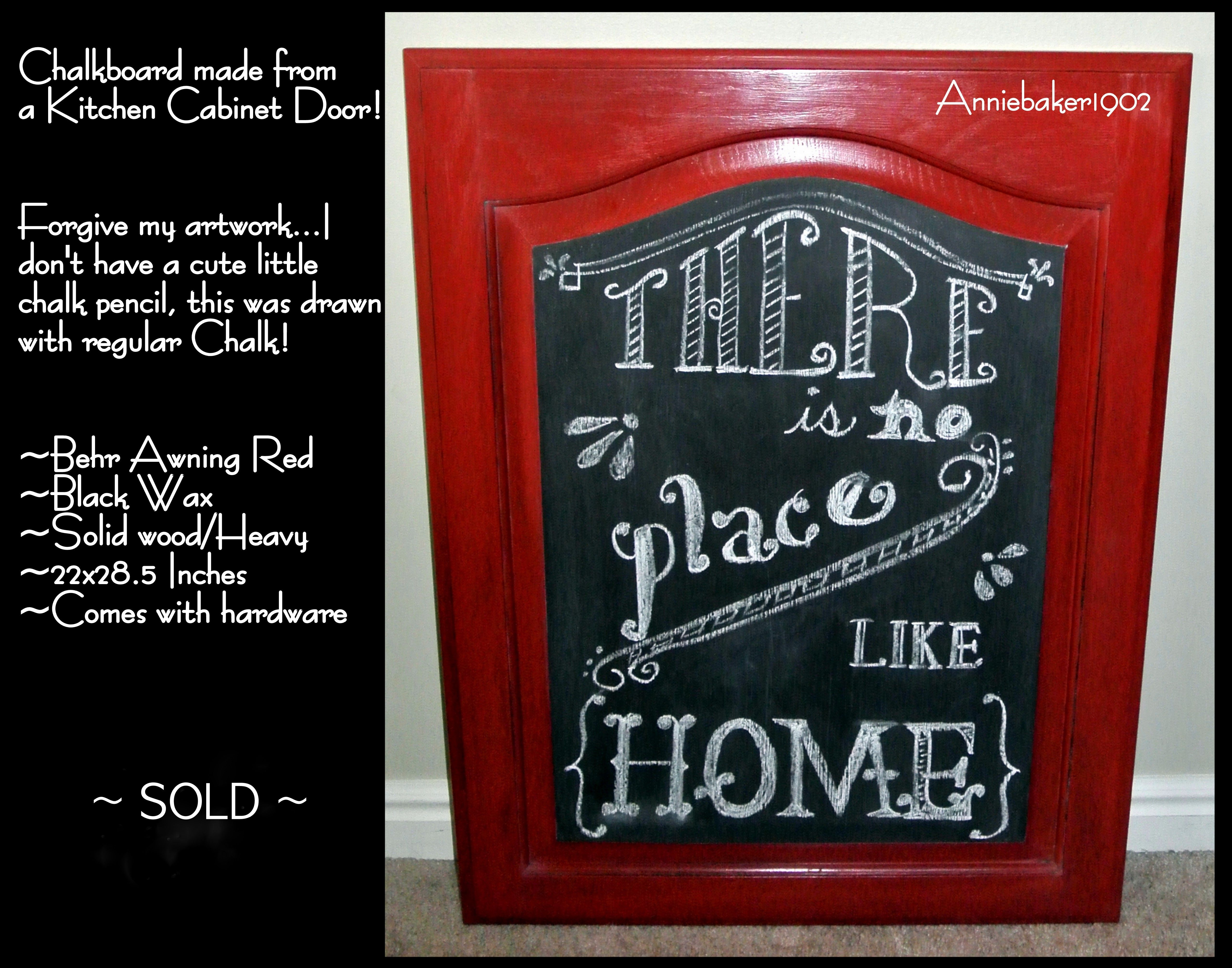 Kitchen cabinet door turned into a lovely chalkboard ...