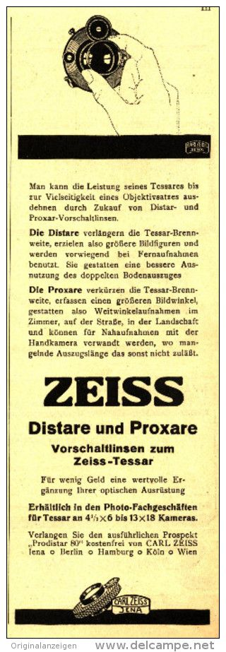 Original-Werbung/Inserat/ Anzeige 1930 - CARL ZEISS JENA - ca. 210 x 80 mm